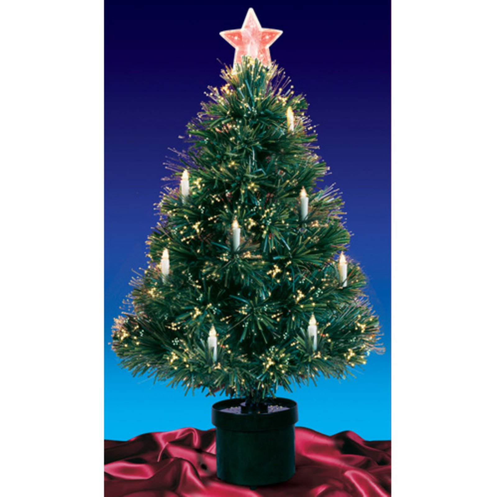 3' Pre-Lit Fiber Optic Artificial Christmas Tree with ...