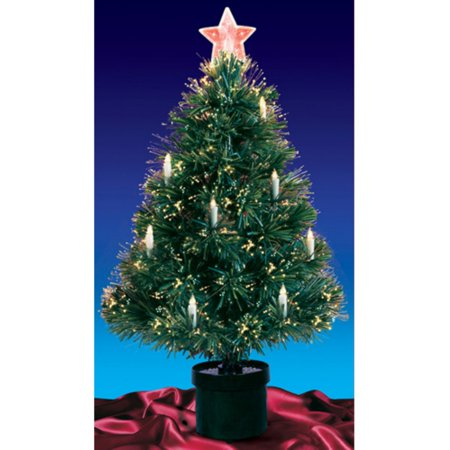 Pre-lit Fiber Optic Christmas Tree with Candles - Northlight 3 Ft. Pre-lit Fiber Optic Christmas Tree With Candles