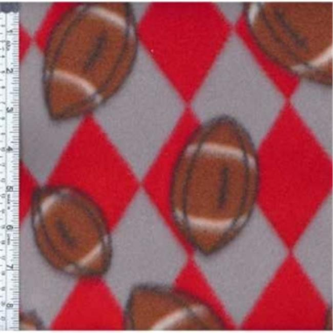 Textile Creations MFP-301-03 Sport Fleece, Team Footballs Red & Silver