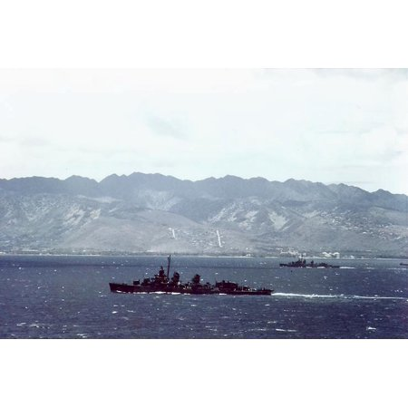 LAMINATED POSTER The U.S. Navy destroyer USS McKee (DD-575) steams with another destroyer off Waikiki Beach, Oahu, Ha Poster Print 24 x (Vintage United Waikiki Poster)