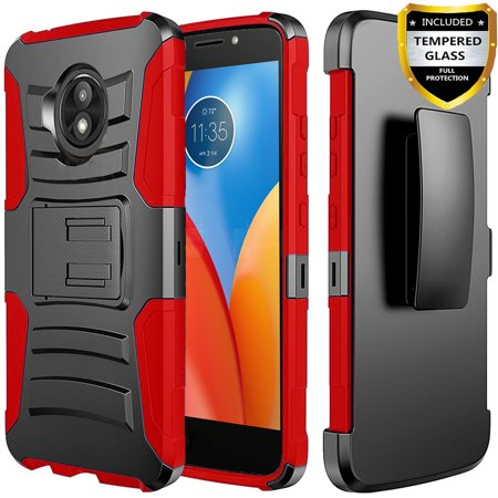 Moto E5 Play Case, Dual Layers [Combo Holster] And Built-In Kickstand Bundled with [Temerped Glass Screen Protector] Hybird Shockproof And Circlemalls Stylus Pen