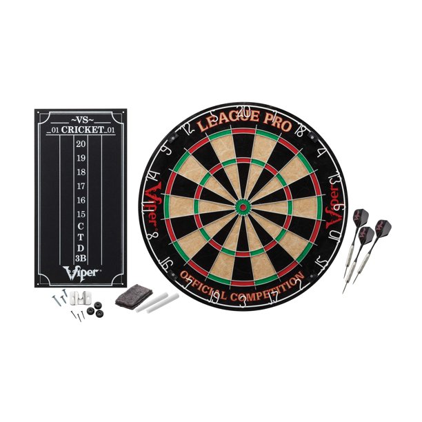 Viper League Pro Regulation Bristle Steel Tip Dartboard Set with Staple-Free Bullseye, Galvanized Metal Spider Wire; High-Grade Sisal with Rotating Number Ring, Includes Chalk Scoreboard and Darts