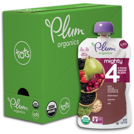 Plum Organics Mighty 4, Organic Toddler Food, Pear, Cherry, Blackberry, Strawberry, Black Bean, Spinach & Oat, 4oz Pouch (Pack of 6) Flakes Organic Pouch