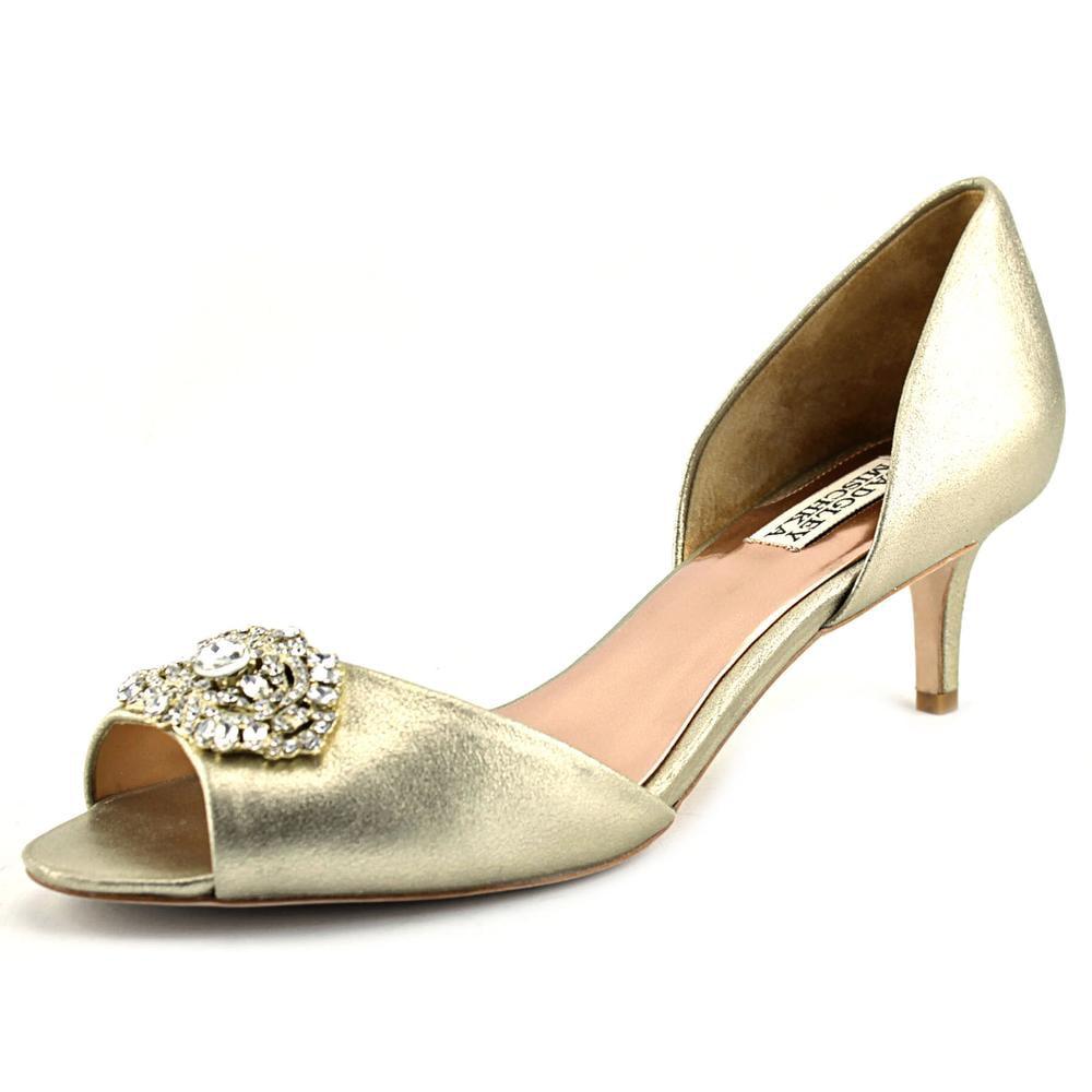 Badgley Mischka Petrina II Women Peep-Toe Leather Gold Heels by Badgley Mischka