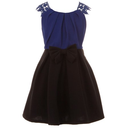Big Girl Lace Sleeve Bow Graduation Easter Party Flower Girl Dress Royal 10 JKS 2165 BNY Corner