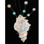 Spiral Seashell With Pearls & Tinsel Christmas Ornament