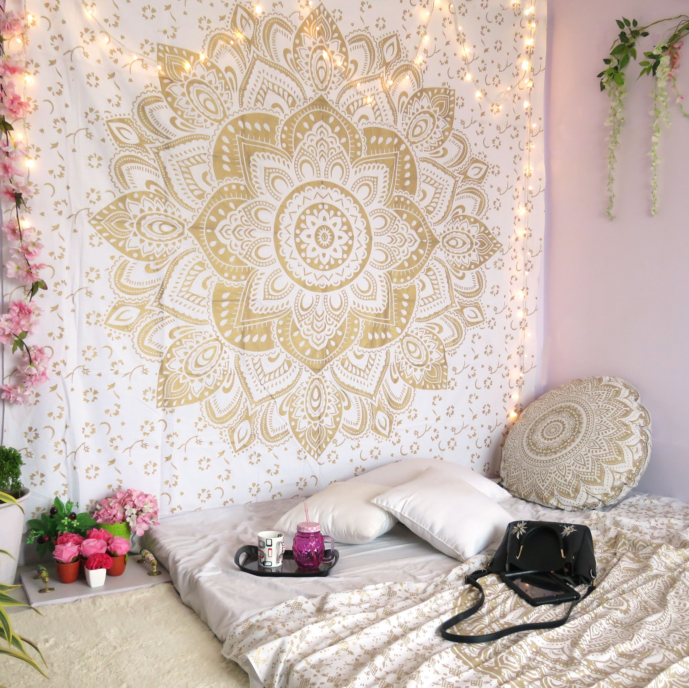 Golden Mandala Wall Hanging Hippie Tapestries Bohemian Mandala Tapestry Wall Hanging Indian Gold Throw