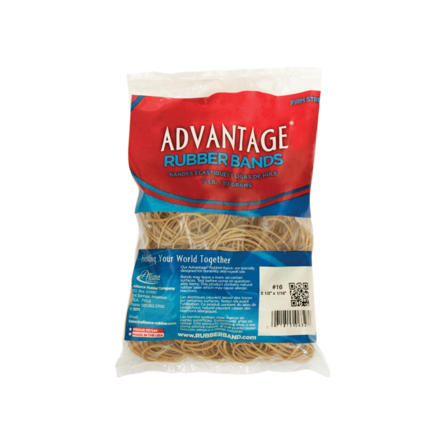 Alliance Advantage Latex Rubber Band, No 16, 2-1 2 L x 1 16 W in, 1 4 lb Box, Natural by ALLIANCE RUBBER CO