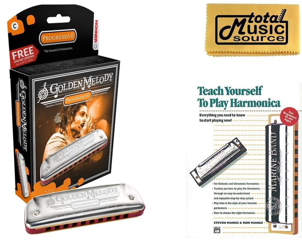 HOHNER Golden Melody Harmonica, Key C, Made in Germany, Case & Book, 542BL-C BK by Hohner