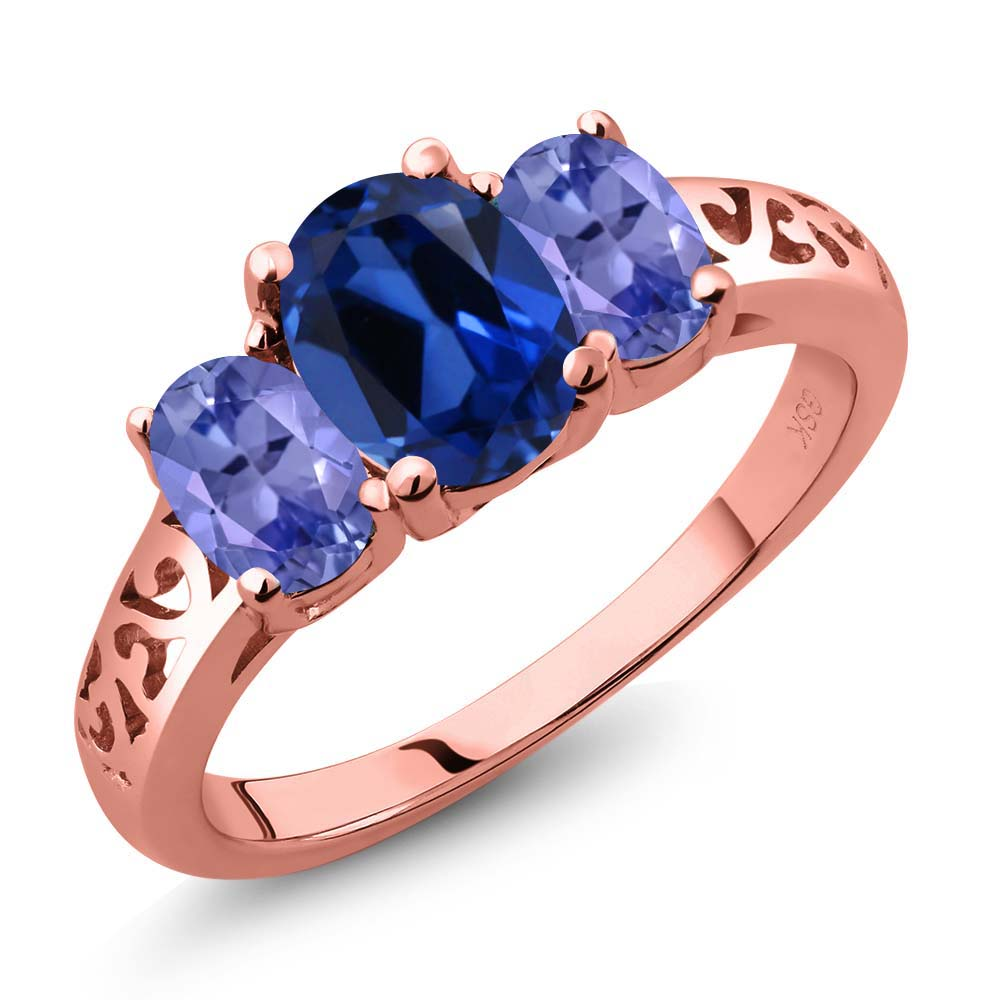 2.50 Ct Blue Simulated Sapphire Blue Tanzanite 18K Rose Gold Plated Silver 3-Stone Ring