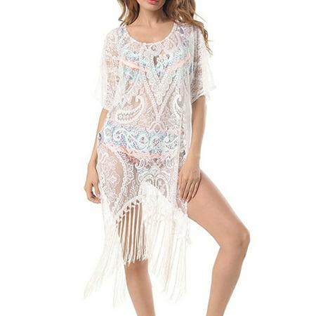 7e34aa914 Himone - Women Swimwear Beachwear Tassel Floral Bikini Beach Wear Cover Up  Kaftan Sarong Summer Dress - Walmart.com
