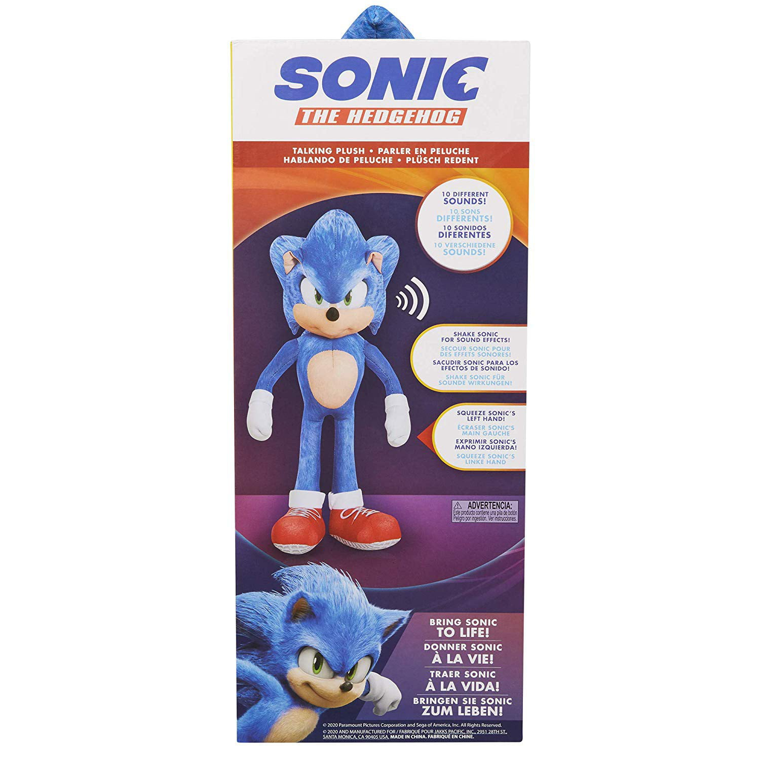 Sonic The Hedgehog Movie 13 Talking Sonic Plush Walmart Com Walmart Com