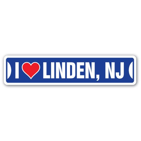I LOVE LINDEN, NEW JERSEY Street Sign nj city state us wall road décor gift