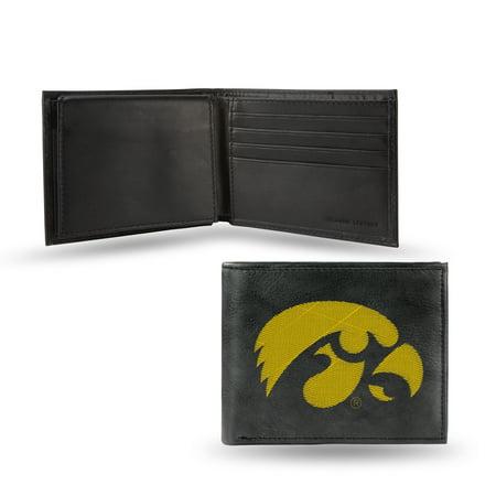 - Iowa Hawkeyes NCAA Embroidered Team Logo Black Leather Bi-fold Wallet