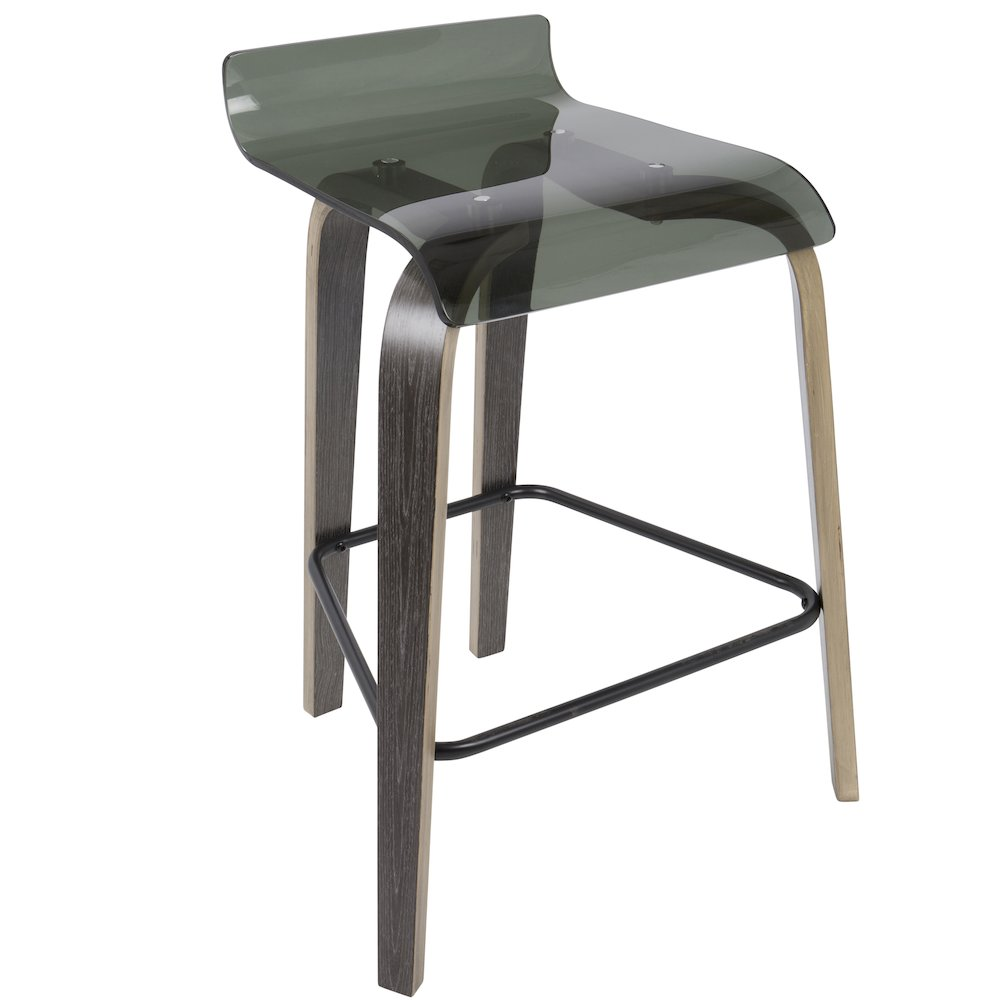 "Clarity 26"" Contemporary Counter Stool in Dark Grey and Green Acrylic by Lumisource by"