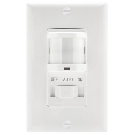 TOPGREENER TSOS5-W PIR Motion Sensor Light Switch, Fluorescent Incandescent 500W NEUTRAL WIRE REQUIRED, White (Neutral Dimmer)