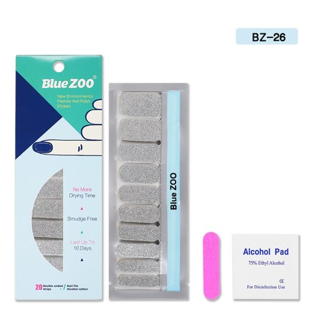 - Blue ZOO 20Pcs/Sheet Nail Polish Stickers with 1Pcs Nail File Solid Color Shine Full Wraps Nail Art Adhesive Decals