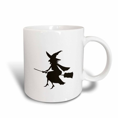 3dRose Witch on Broom Halloween Silhouette, Ceramic Mug, 11-ounce (Halloween Witch Silhouette)
