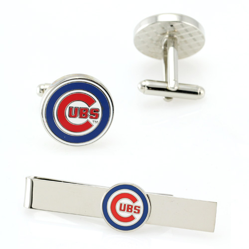 MLB Mens Chicago Cubs Cufflinks & Tie Bar Gift Set with Gift Box PD-CUB-CT NEW