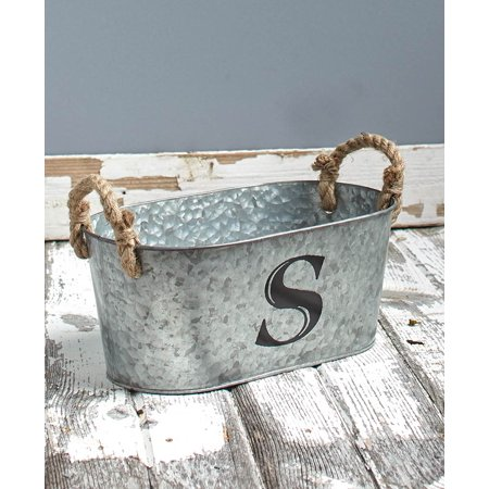 Galvanized Monogram Bucket S - Mini Galvanized Buckets