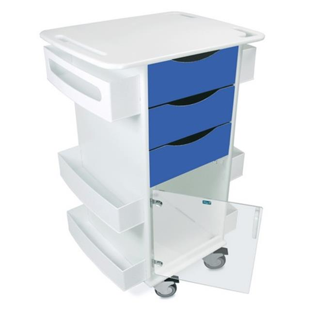 TrippNT 51428 Polyethylene Deluxe Medical Cart with Swinging Hinged Door, Global Blue - 23 x 35 x 19 in.