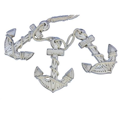 Handcrafted Decor Triple-Anchor-White Wooden Rustic Whitewashed Decorative Triple Anchor Set, 7 in.