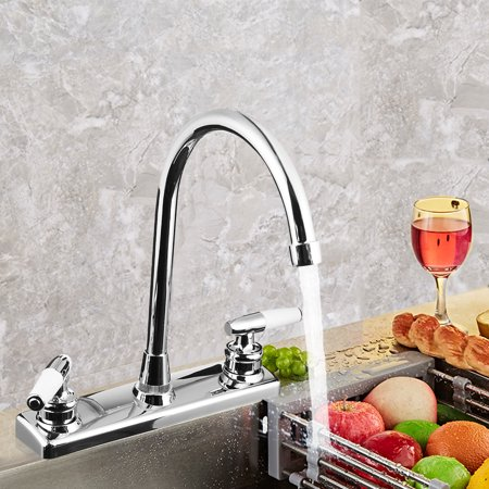 Double Holes and Handles Kitchen Faucet Hot Cold Basin Sink Mixer Water Tap (Red Tap Handle)