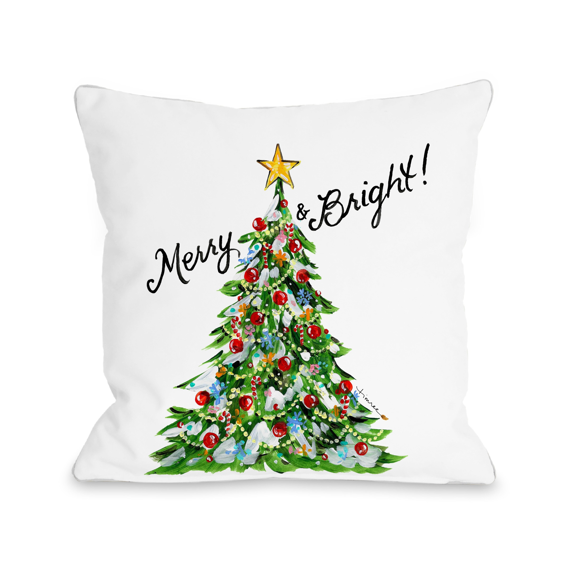 Merry & Bright Christmas Tree - Multi 18x18 Pillow by Timree Gold