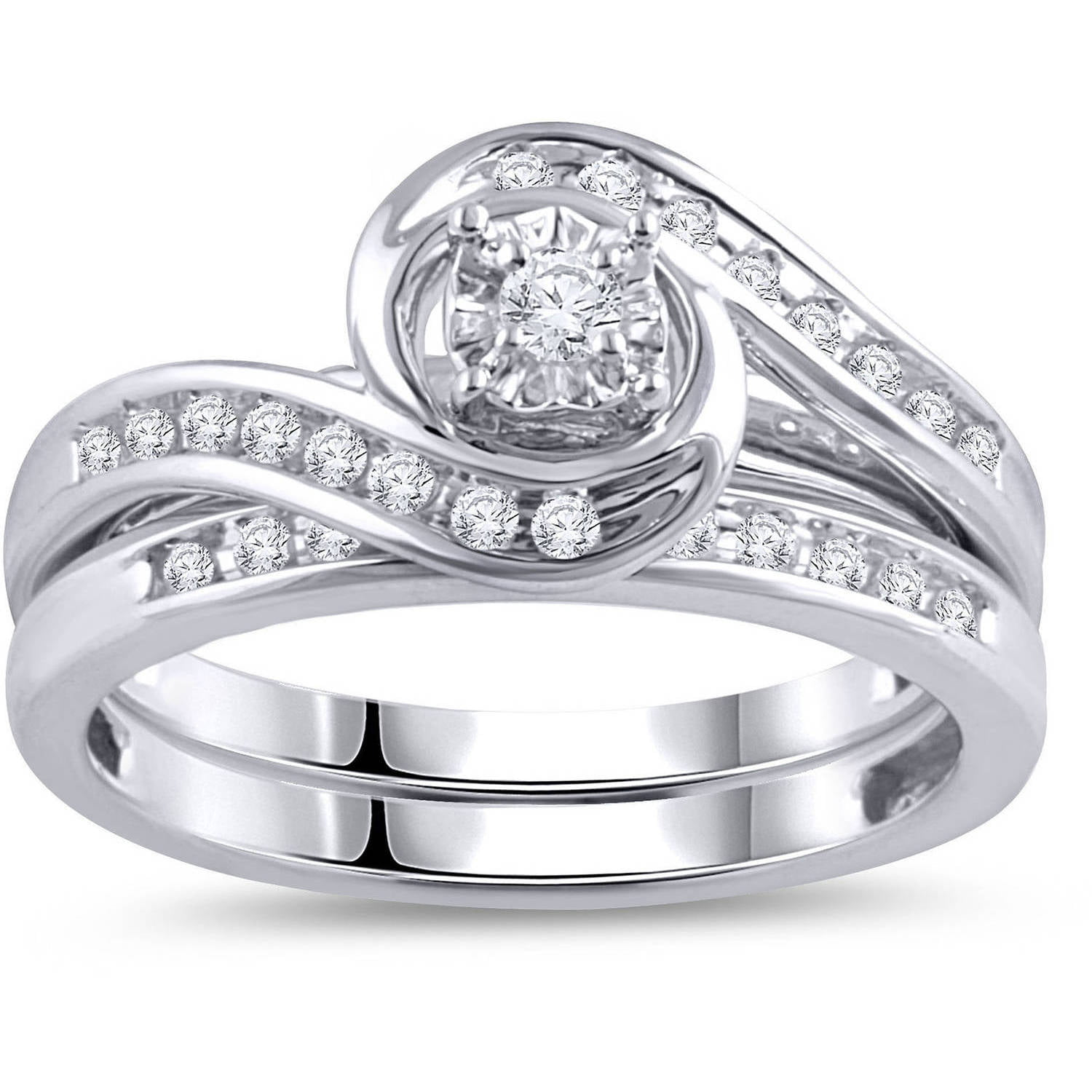 Online 1 3 Carat T W Diamond Bypass Ring Bridal Set In 10kt