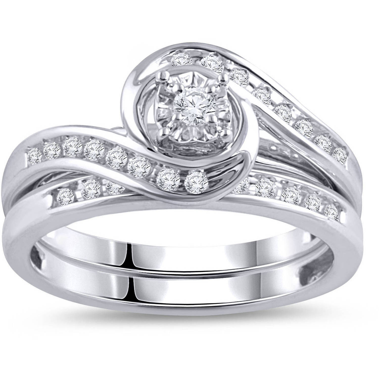 1/3 Carat T.W. Diamond Bypass Ring Bridal Set in 10kt White Gold