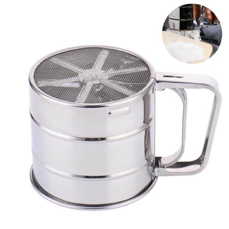 Uarter Stainless Steel Flour Sifter Handheld Powder Strainer Mesh Shaker Kitchen Sieve Cup Icing Sugar Filter, Small-sized