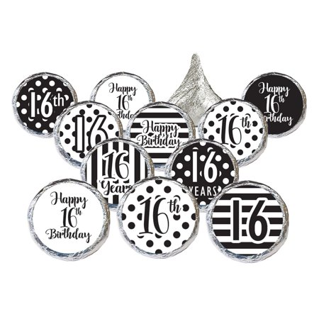 16th Birthday Party Stickers, 324 count - Sweet 16 Black and White Stripe and Polka Dot Birthday Party Supplies - 324 Count Happy Birthday Stickers