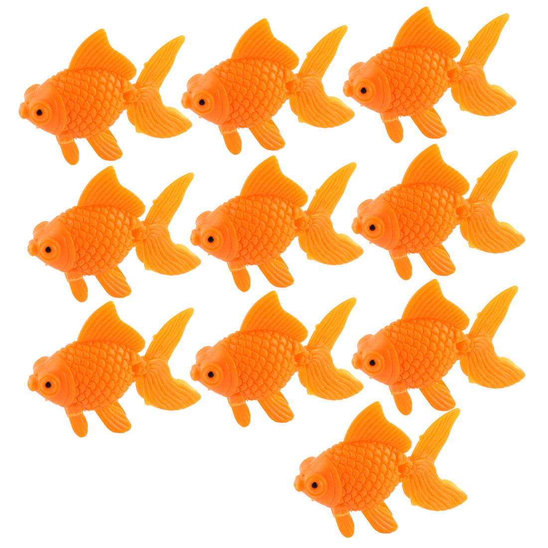 Aquarium Orange Plastic Goldfish Ornament Fish Tank Decoration 10pcs