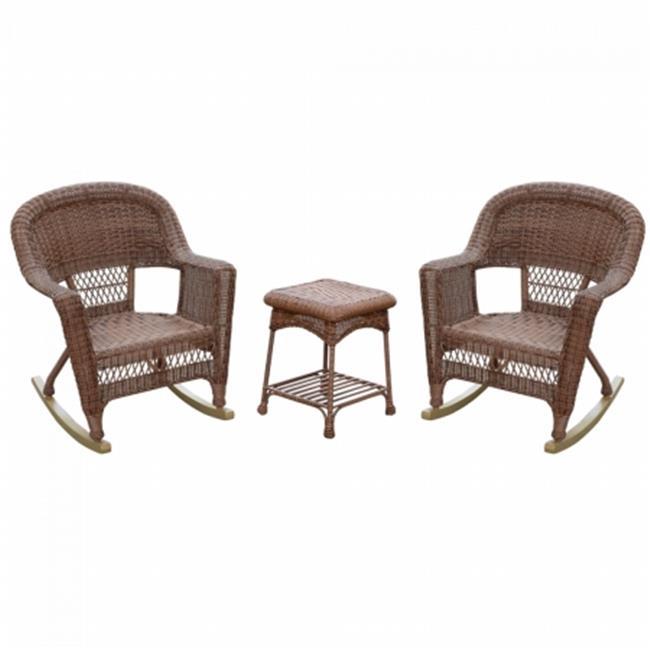Jeco W00208_2-RCES011 Santa Maria Espresso Rocker Wicker Chair Set with Cushions, Blue - 3 Piece