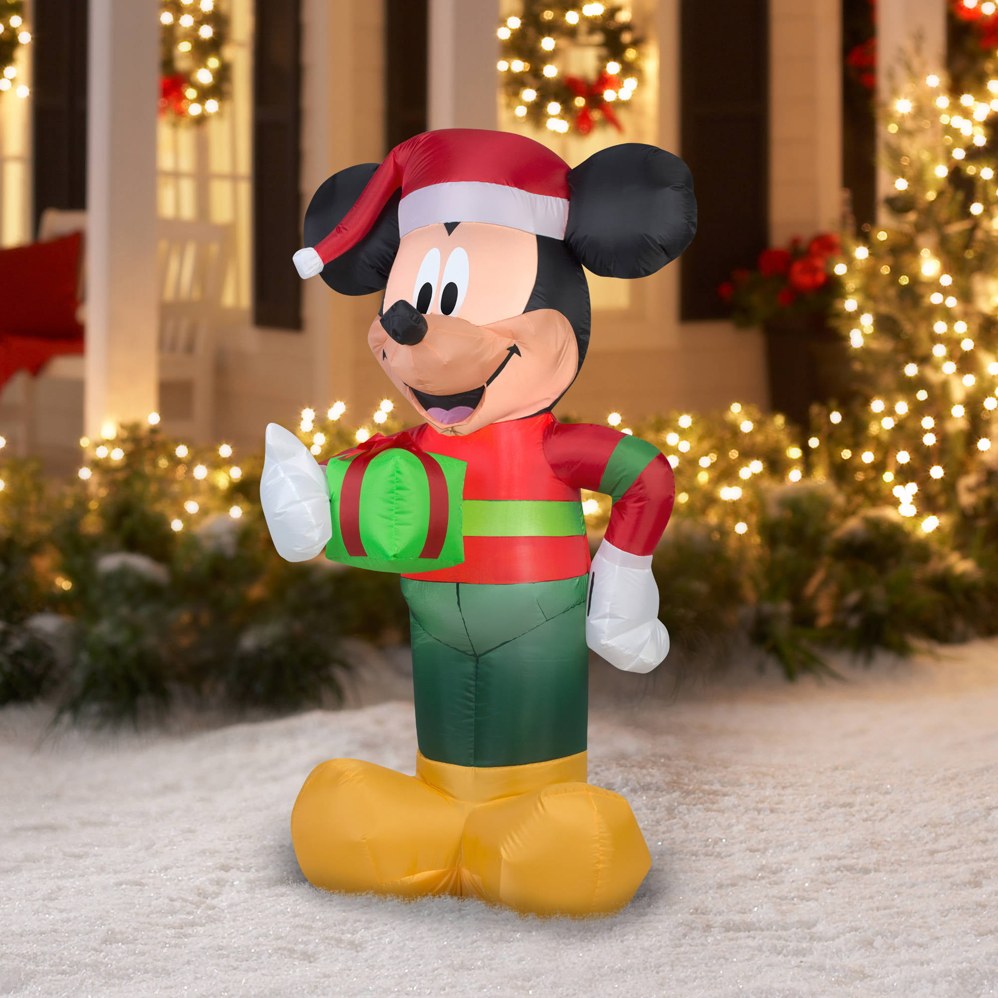 gemmy airblown christmas inflatables disney mickey with present 5 walmartcom - Disney Christmas Yard Decorations