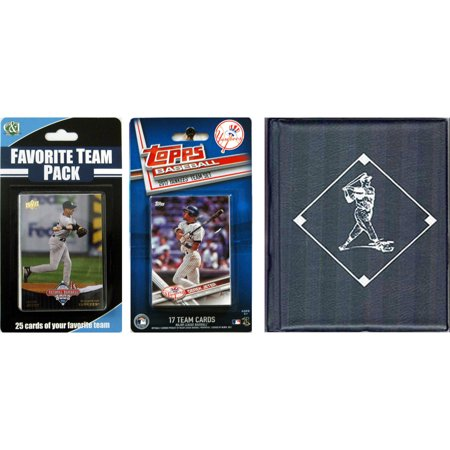 C & I Collectables MLB New York Yankees Licensed 2017 Topps Team Set and Favorite Player Trading Cards Plus Storage Album