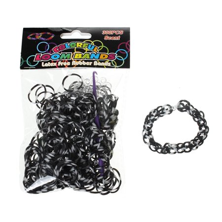 Sexy Sparkles 300 Pcs Rubber Bands DIY Loom Bracelet Making Kit with Hook Crochet and S Clips (White and Black)](Rubber Band Bracelet Loom)