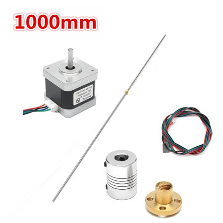 1000mm T8 3D Printer Lead Screw Rod Shaft Coupling Mounting Bearing Motor  with Screw Nut Kit