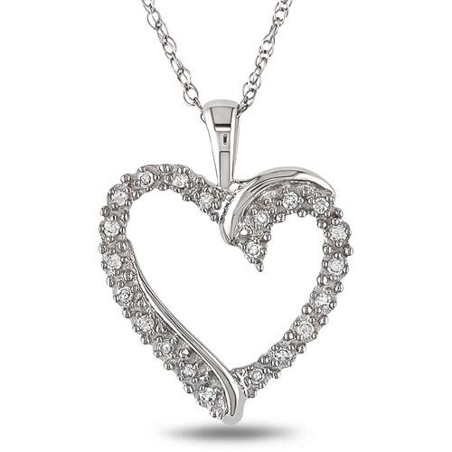 Miabella 10kt White Gold 1/10ct TDW Diamond Heart Pendant