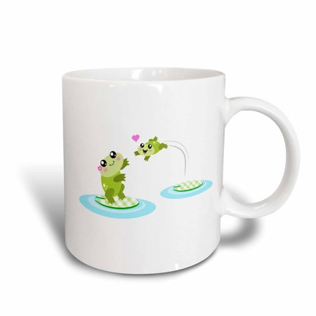 3dRose Cute baby frog jumping into mom frogs arms - happy mother and child kawaii cartoon - mothers day, Ceramic Mug, 11-ounce](Happy Mothers Fay)