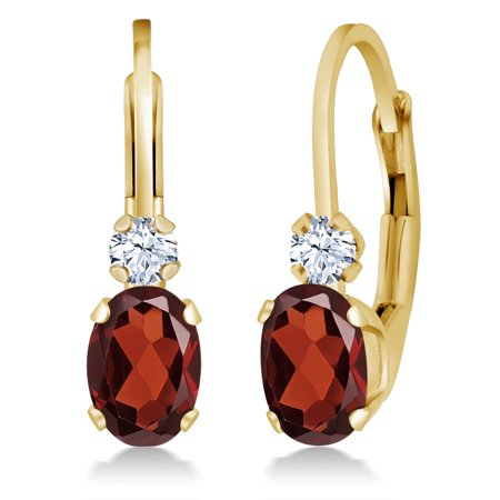 1.18 Ct Oval Red Garnet White Created Sapphire 14K Yellow Gold Earrings