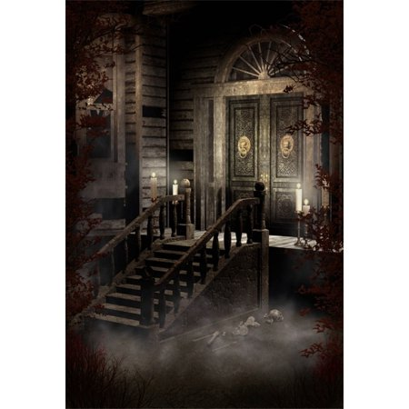 MOHome Polyster 5x7ft Photography Background Old Victorian House Spooky Night Candles Ornamented Door Scary Skulls Stone Stairway Halloween Western Retro Architecture Building Style Steampk Background