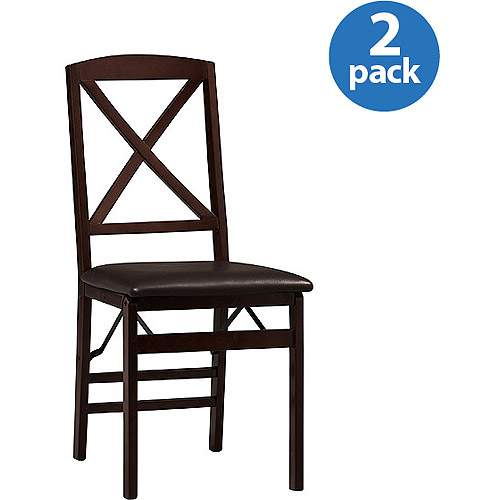 Linon Triena X Back Folding Chair, 18 inch Seat Height