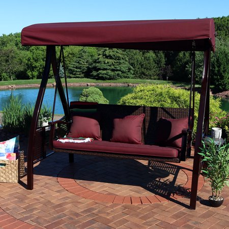 Sunnydaze 3 Seat Deluxe Outdoor Patio Swing With Heavy Duty Steel Frame And Canopy Maroon Cushions Included