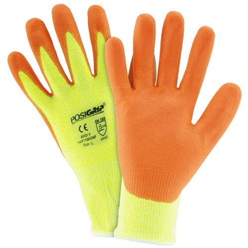 Large Hi Vis Yellow HPPE Orange Foam Nitrile Palm Coated Gloves Dozen