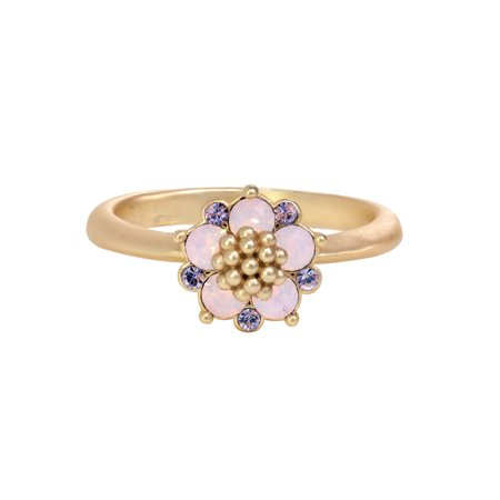 Gold Plated Rose Water Opal Swarovski Crystal Flower with Lavender Accents Ring ()
