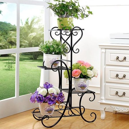 Meigar Plant Stand Metal Flower Holder Pot with 4 Tier Garden Decoration Display Wrought Iron 4 Layers Planter Rack Shelf Organizer for Garden Home Office Black