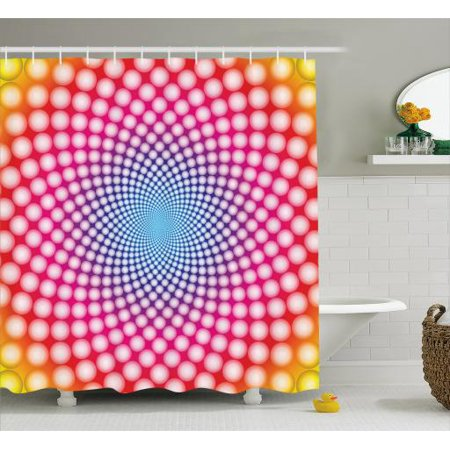 Psychedelic Shower Curtain Contemporary Style Dotted Pattern With Ombre Effect Optical Illusion Design Fabric