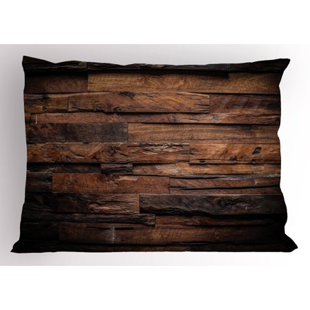 Chocolate Pillow Sham Rough Dark Timber Texture Image Rustic Country Theme Hardwood Carpentry, Decorative Standard King Size Printed Pillowcase, 36 X 20 Inches, Brown Dark Brown, by Ambesonne