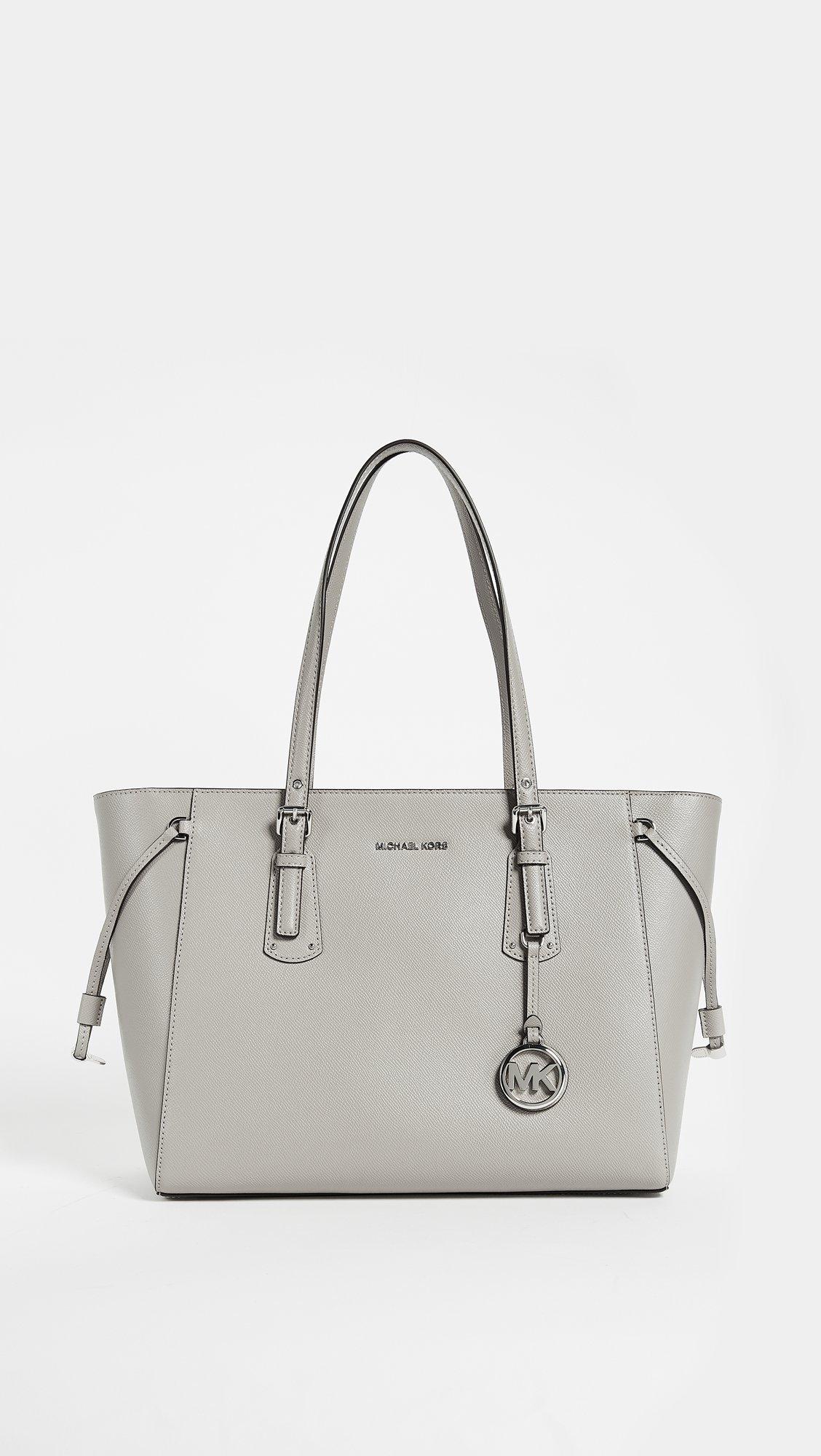 Michael Kors New Voyager Pearl Gray Tote Pebble Leather Handbag Purse